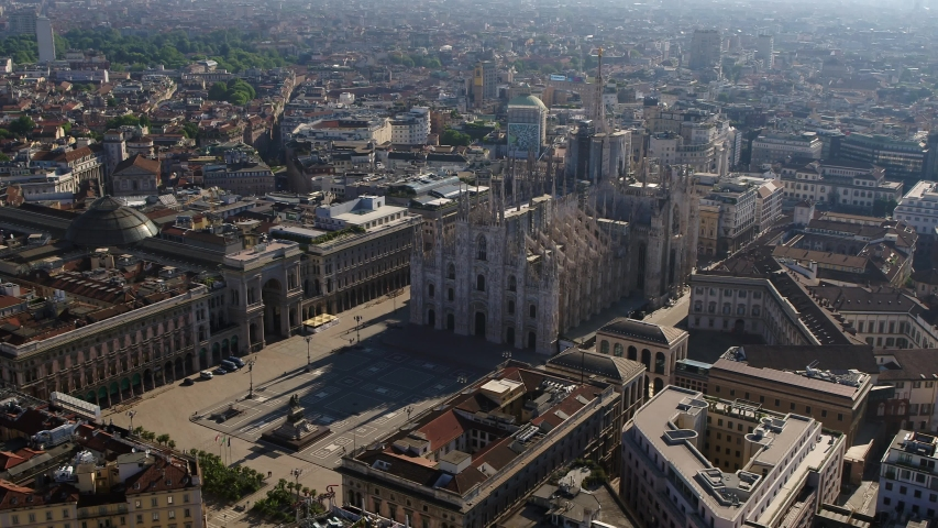Aerial drone footage view of cathedral Duomo in Milan Italy  // no video editing  | Shutterstock HD Video #1054347632