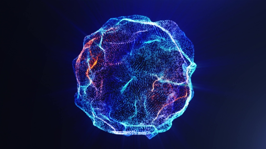 Ultramarine particle energy sphere in the Universe. Abstract technology, science, engineering and artificial intelligence slow motion background. 3D rendering. Seamless loop 4k video.  | Shutterstock HD Video #1054348085