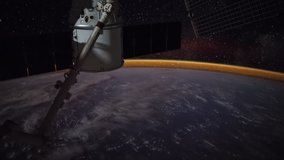 Planet Earth seen behind dirty window from International Space Station ISS with Aurora Borealis from South Pacific Ocean to Canada, Time Lapse . Images courtesy of NASA. Prores UHD
