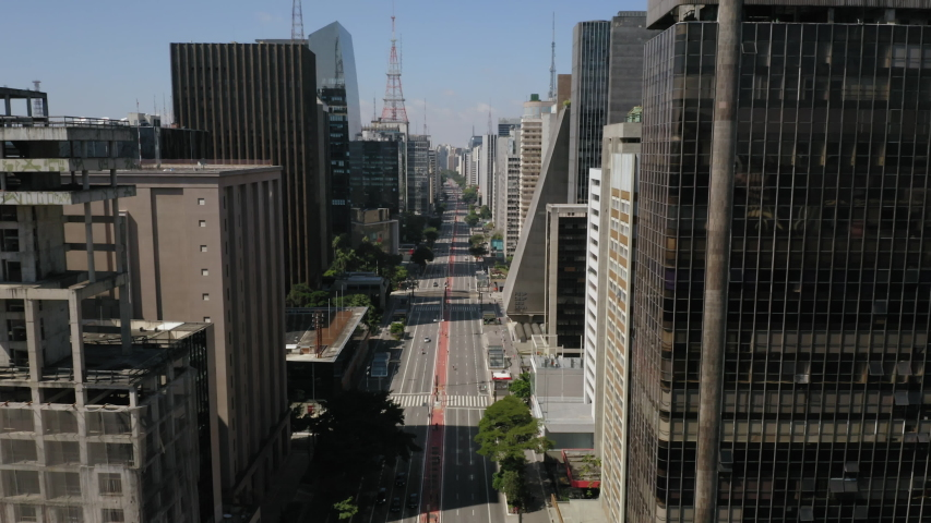 Aerial view of Paulista avenue empty during Covid Quarantine , Sao Paulo, Brazil