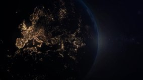 Majestic view from space of the earth. With Europe Lights in the night. Full hd 3d render 4k. Sun rise from space. Ocean, Clouds, Atmosphear. Video from a set.