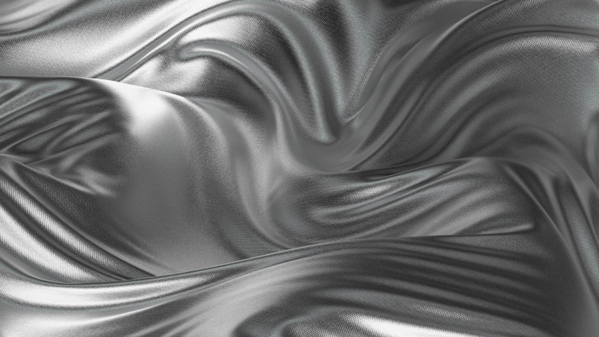 4K seamless waving silver satin fabric Background. Silk cloth fluttering in the wind looping 3D animation. White metallic loop background and texture.