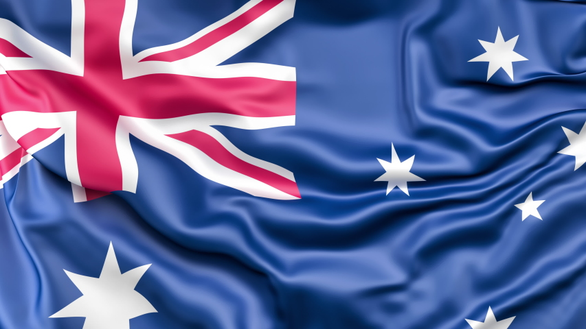 A high-quality footage of 3D Australia flag fabric surface background animation