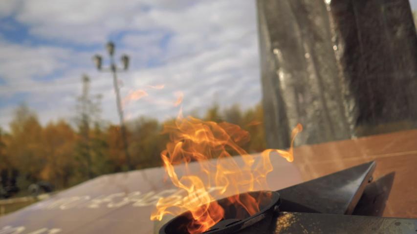 Slow-motion eternal flame in memory of world war II