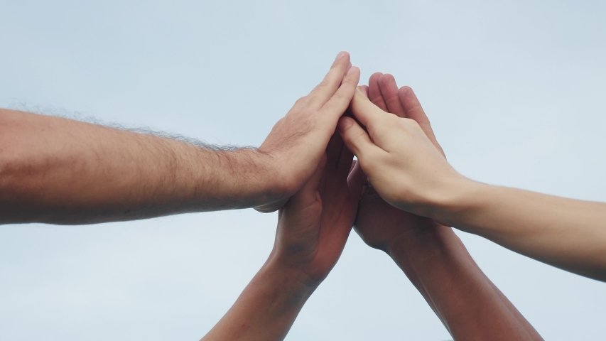 Teamwork concept. team community joins hands together. group of people hands. teamwork workers carry out one mission go lifestyle to the goal . business team in the company working partnership