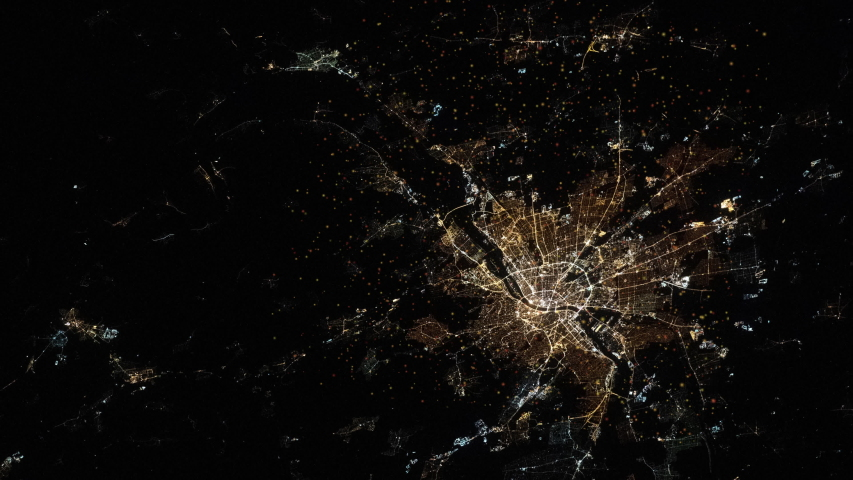 City at night satellite aerial view animation of Budapest Hungary capital. Images furnished by Nasa | Shutterstock HD Video #1054368413