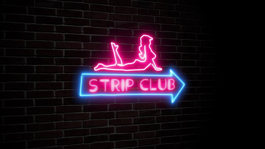 Strip club neon sign arrow flashing and woman silhouette on dark brick wall animation adult entertainment concept