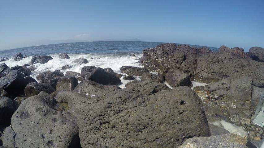 Hyperlapse of waves crashing on Baja California rocky shore