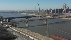 Drone Video Downtown and Arch St Louis Missouri