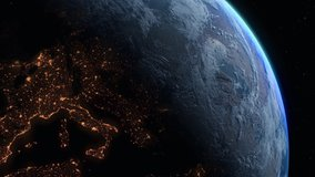 Photo realistic 3D earth from high earth orbit. Sunrise view of Europe from space. Planet earth from space. Clip contains space, planet, stars, cosmos, sea, earth, sunrise, globe, Europe. [ProRes HD]