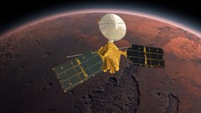 Mars Reconnaissance Orbiter, MRO orbiting Mars. Mars Planet Rotating in the outer space.Traveling to the red planet Mars in space. Elements of this video furnished by NASA.