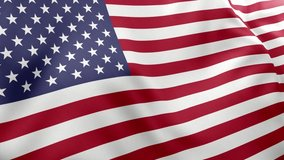 A beautiful view of United States of America flag video. 3d flag waving video. United States of America flag HD resolution. United States of America flag Closeup 1080p Full HD video.