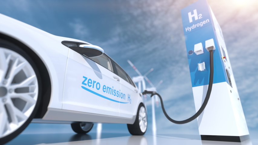 hydrogen logo on gas stations fuel dispenser. h2 combustion engine for emission free ecofriendly transport. 3d rendering Royalty-Free Stock Footage #1054378685