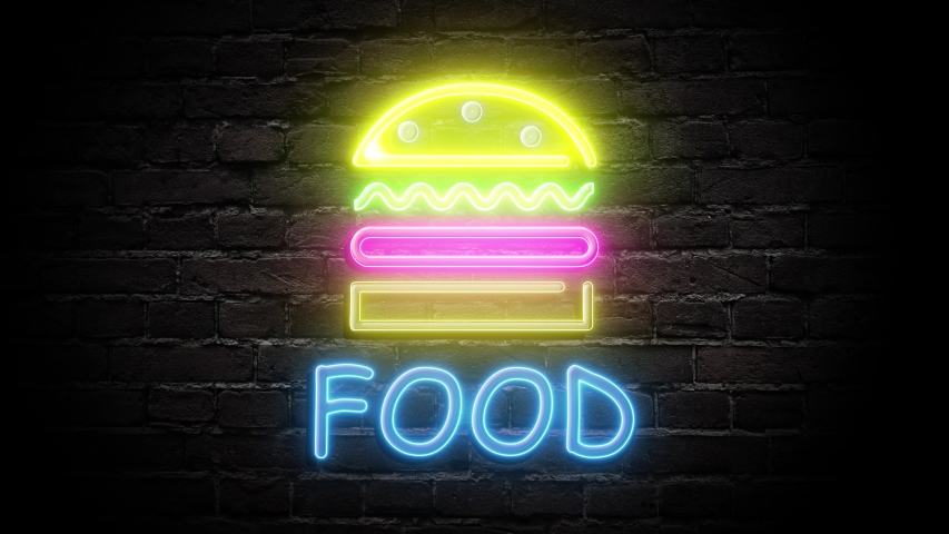 Food neon signboard light on brick wall background. Glowing large test looping concept animation. | Shutterstock HD Video #1054380002
