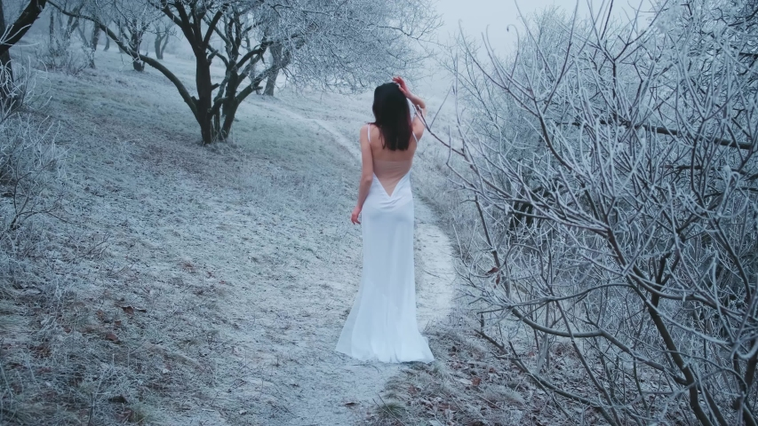 Young woman bride turned away walks on snowy road winter fog in forest. Beautiful trees in frost. brunette loose hair. Naked sexy back. White long wedding fashion vintage dress. Model posing rear view