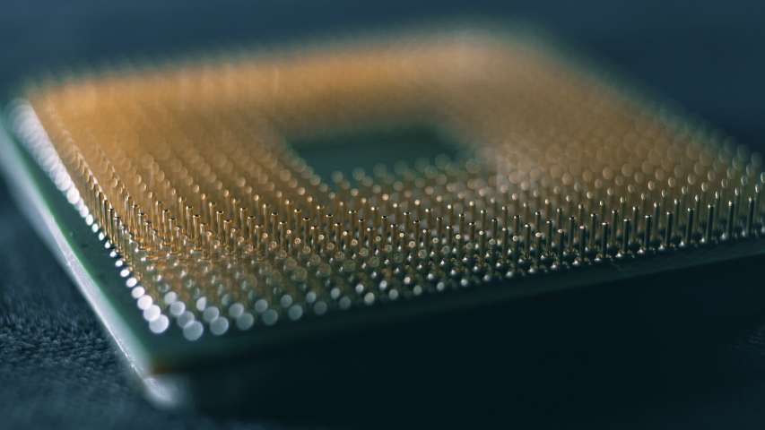 CPU computer processor macro slider shot, shallow focus Royalty-Free Stock Footage #1054381610