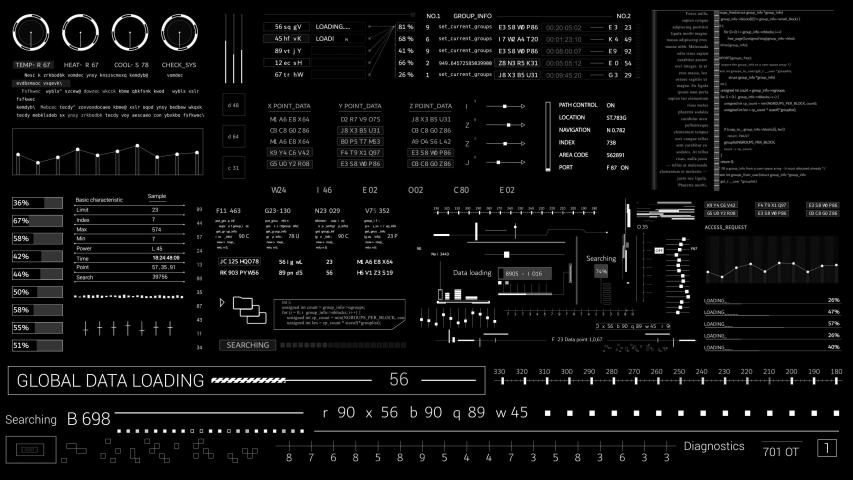 PNG Alpha.HUD technological elements.Futuristic infographic Sci Fi user interface .Information data HUD.Animated texture for 3D animated material.Broadcast design.