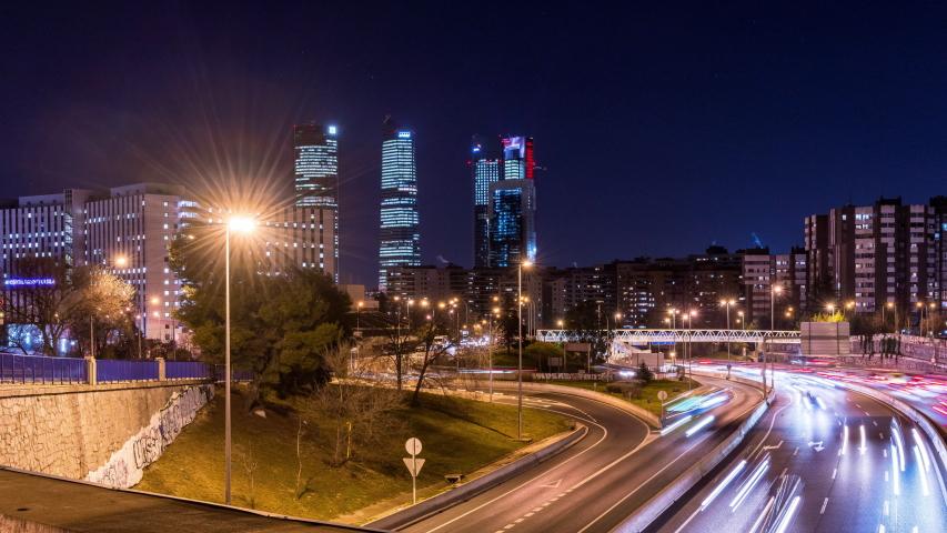 Madrid Night Hyperlapse Royalty-Free Stock Footage #1054386161