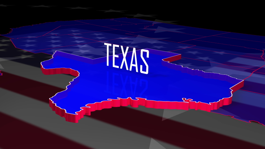 Red, white and blue graphic fly in to the U.S. state of Texas as it highlights and rises.