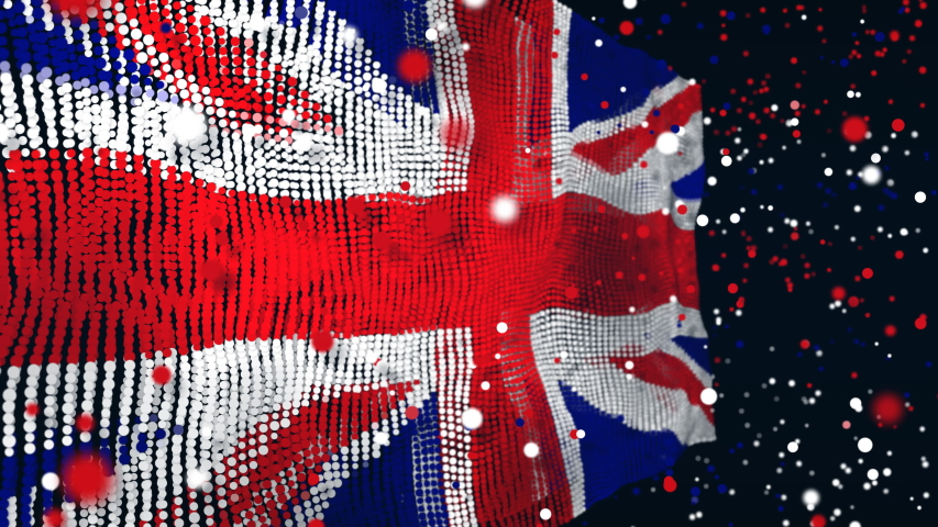 Amazing particle animation of the UK flag, also known as the Union Jack | Shutterstock HD Video #1054387172