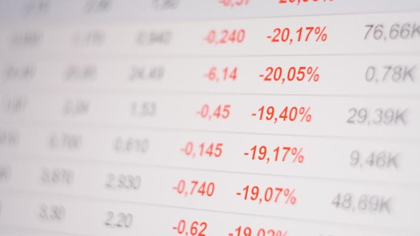Stock market crash, figures changing on ticker display, global economic crisis. Royalty-Free Stock Footage #1054389194