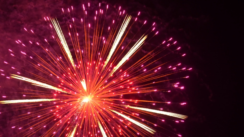 The fireworks in the night  | Shutterstock HD Video #1054393394