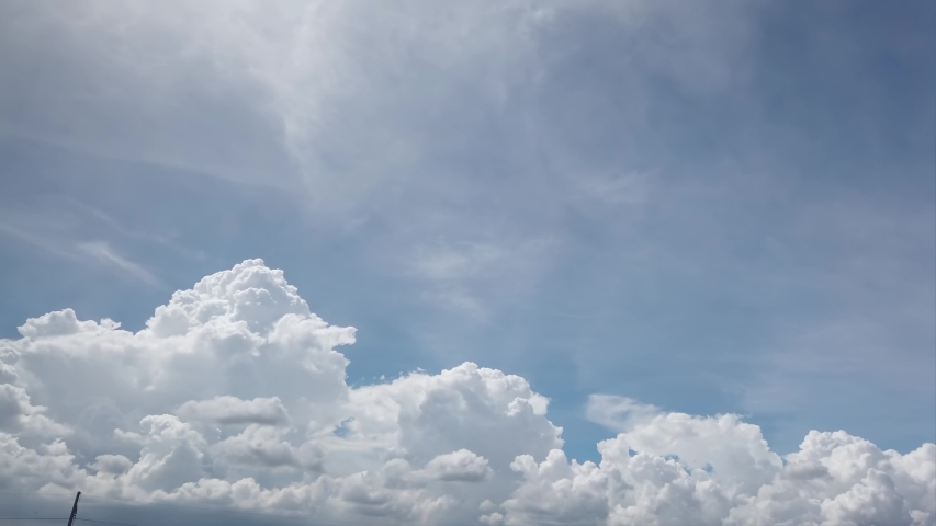 4K Beautiful blue sky with clouds background. Sky clouds. Sky with clouds weather nature cloud blue. Blue sky with clouds and sun. Royalty-Free Stock Footage #1054394900
