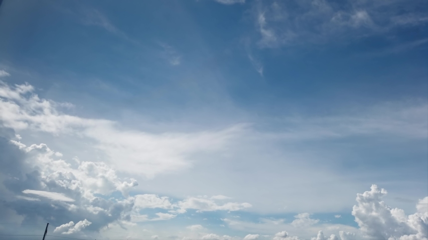 4K Beautiful blue sky with clouds background. Sky clouds. Sky with clouds weather nature cloud blue. Blue sky with clouds and sun. Royalty-Free Stock Footage #1054394903