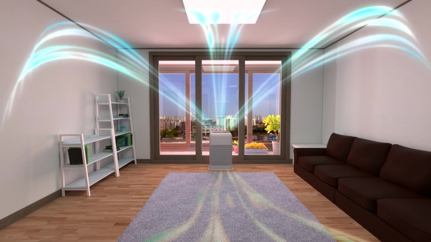 White air cleaner making indoor air fresh all day in a closed room with a wood floor, a gray mat, a sofa, and bookshelves in a neat house with nice view of balcony where plant and flowerpot are placed Royalty-Free Stock Footage #1054395485