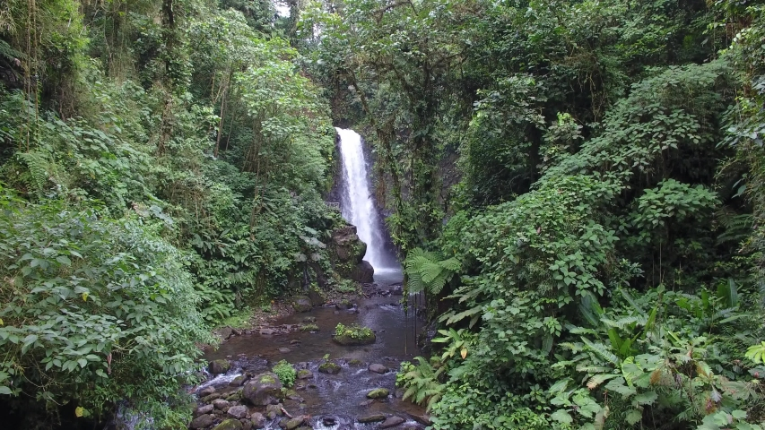 Drone shot of waterfall in the middle of the tropical rain forest in San Carlos, Costa Rica
