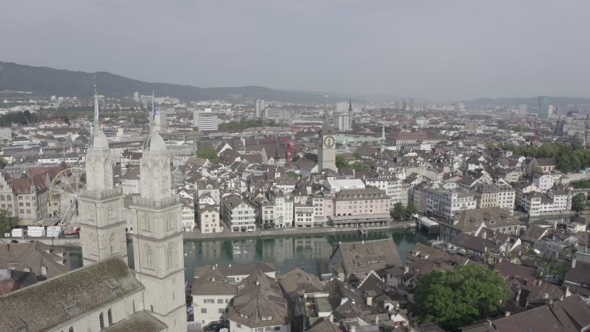 D-Log. Zurich, Switzerland. Panorama of the city from the air. St. Peter Church, Aerial View, Point of interest