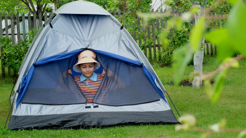 Little boy at camping in summer. Child is playing in a tent. | Shutterstock HD Video #1054404623