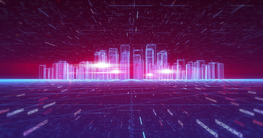 Flying Through Futuristic Data Structures. City Network Technology. Camera Slowly Moving Forward. Smart City And Technology Business Concept. Royalty-Free Stock Footage #1054404629