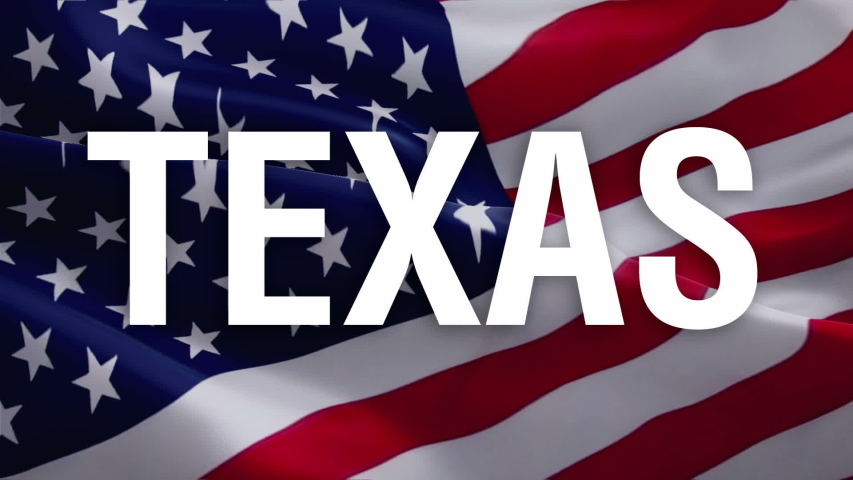 Texas text US flag video waving in wind. Waving Flag United States Of America. USA flag for Independence Day, 4th of july US American Flag Waving 1080p Full HD footage. USA America Super Bowl flags vi
