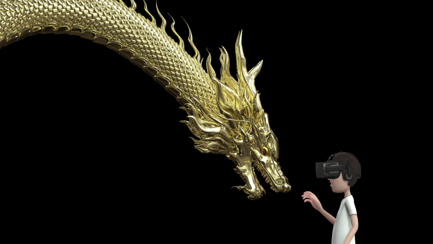 3D animation the man wear goggle virtual reality and touch gold chinese dragon include alpha layer. | Shutterstock HD Video #1054406264