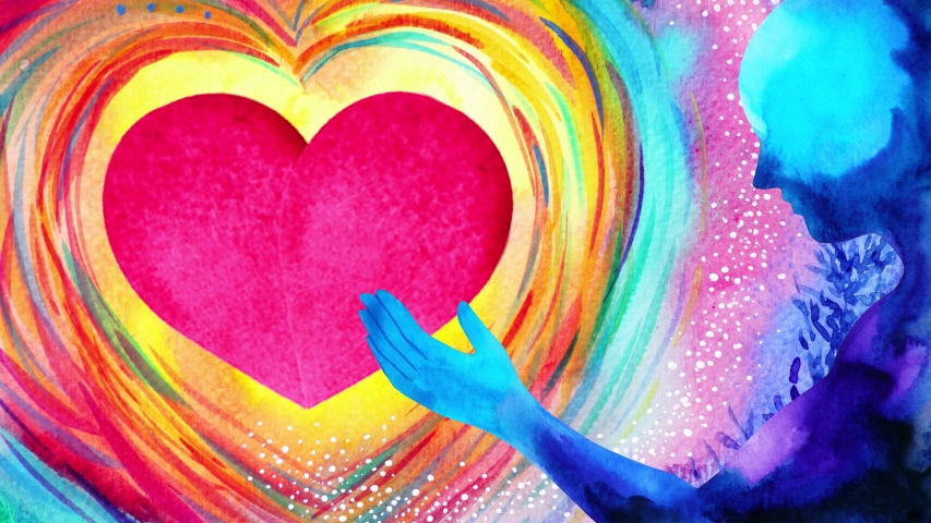 red heart love mind mental flying healing in universe spiritual soul abstract art watercolor painting illustration stop motion ultra hd 4k