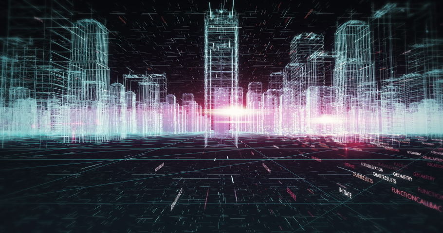 Futuristic Developed City. Computer Network And Data Skyscrapers. Smart City And Technology Business Concept. Royalty-Free Stock Footage #1054409777