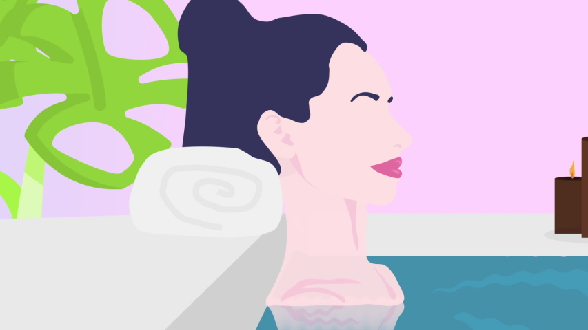 SPA, Resort, Massage, Wellness center. Motion Graphics Background. Girl in pool relaxing. Perfect for video promotion, video post/story, or any other social media video marketing mission.
