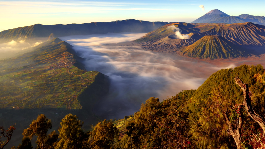 4K Panning time lapse Of Bromo volcano at sunrise, East Java, Indonesia | Shutterstock HD Video #1054410389