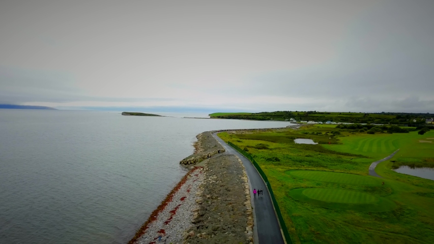 Salthill promenade and coastline drone footage and birds eye view  | Shutterstock HD Video #1054410590