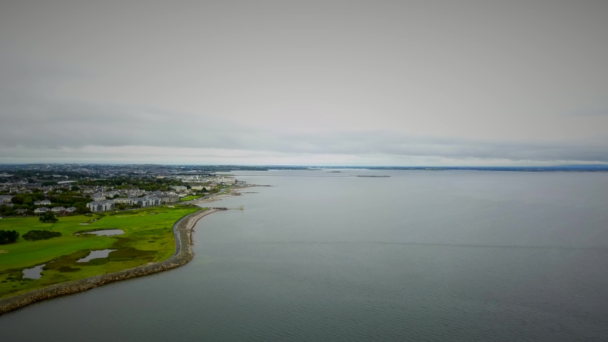 Salthill promenade and coastline drone footage and birds eye view  | Shutterstock HD Video #1054410593