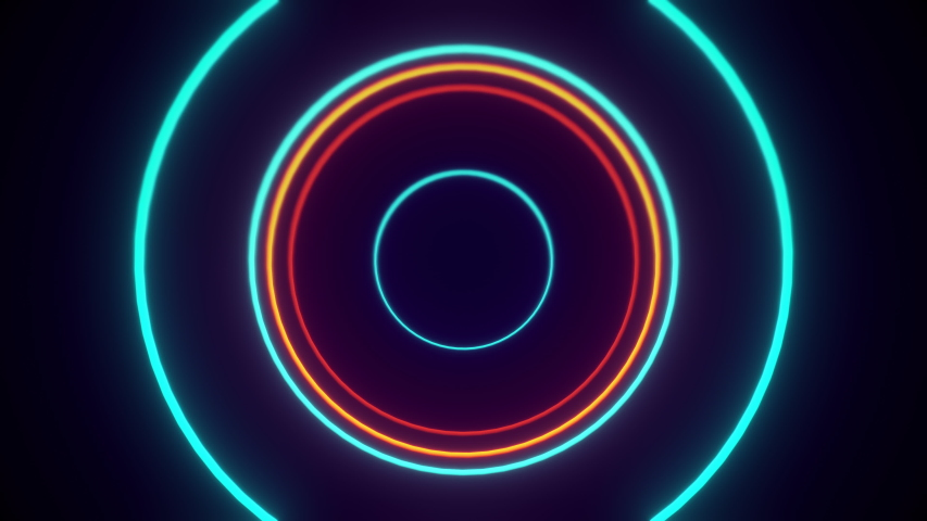 An endless VJ tunnel of circle shaped neon lights in orange and blue coming towards the viewer. A composition with a real retro feel. Loops seamlessly.