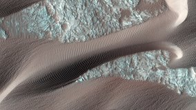 MARS. Real landscapes of Mars from satellite orbit. Mars Reconnaissance Orbiter, MRO orbiting Mars. Elements of this video furnished by NASA.
