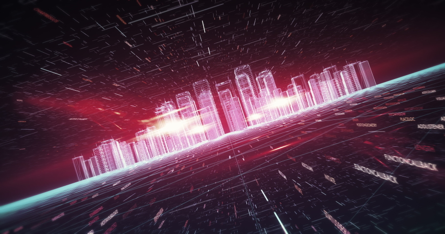 Abstract Visualization Of A Digital City Made Of Codes And Numbers. Digital Skyscrapers And Smart City Buildings With Flying Codes And Particles. Camera Slowly Moving Forward.