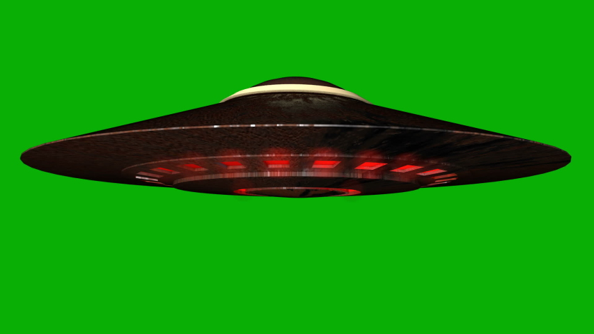 Realistic UFO With Green Screen Background. UFO, rotating alien spaceship, flying saucer isolated on green screen background,