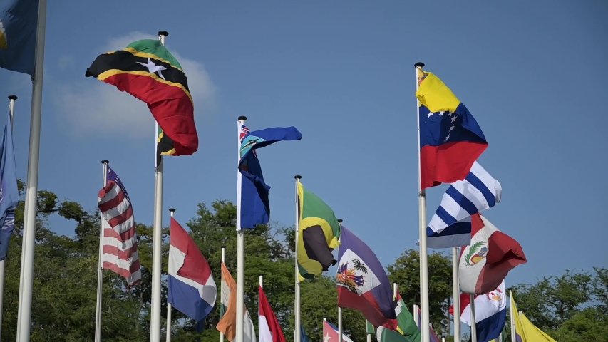 Flags of Belize, India, Jamaica, Saint Kitts and Nevis, Saint Lucia, United States of America, Uruguay and Venezuela on a set of flag poles in slow motion   Shutterstock HD Video #1054436969