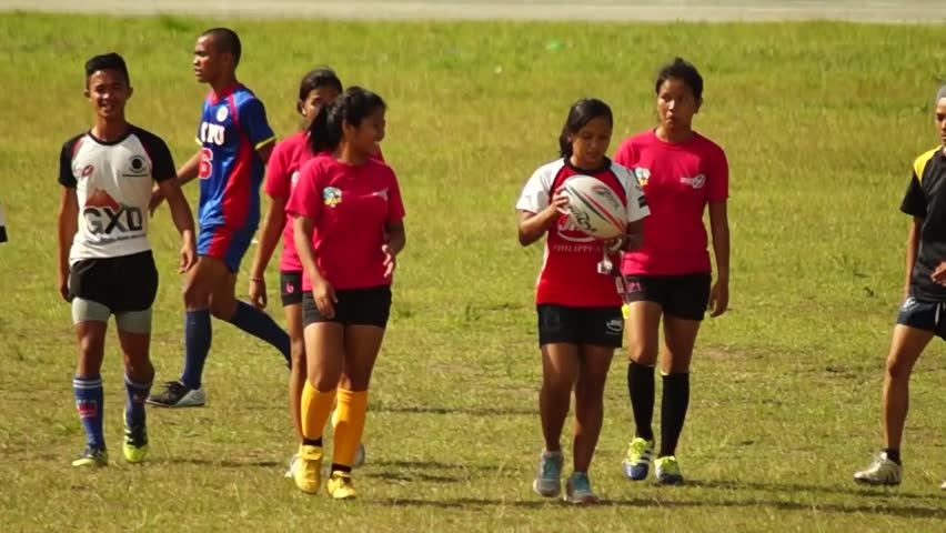 LAGUNA, PHILIPPINES - CIRCA 2014: Rugby Players are rigorously trained for the incoming athletic sports event. Public Event #10544483