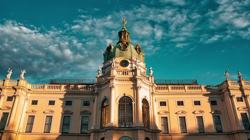 Timelapse  Hyperlapse 4k Schloss Charlottenburg Berlin Germany at Sunset cloudy day   Shutterstock HD Video #1054450877