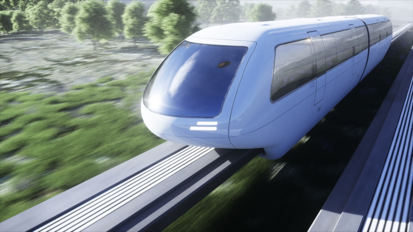 Futuristic sci fi monorail train. Concept of future. Futuristic city background. Grass field. 4K realistic animation. | Shutterstock HD Video #1054453781