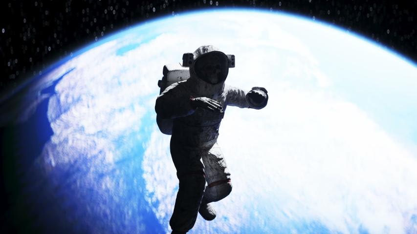Dead astronaut in outer space. Cadaver. 3d rendering. | Shutterstock HD Video #1054453886